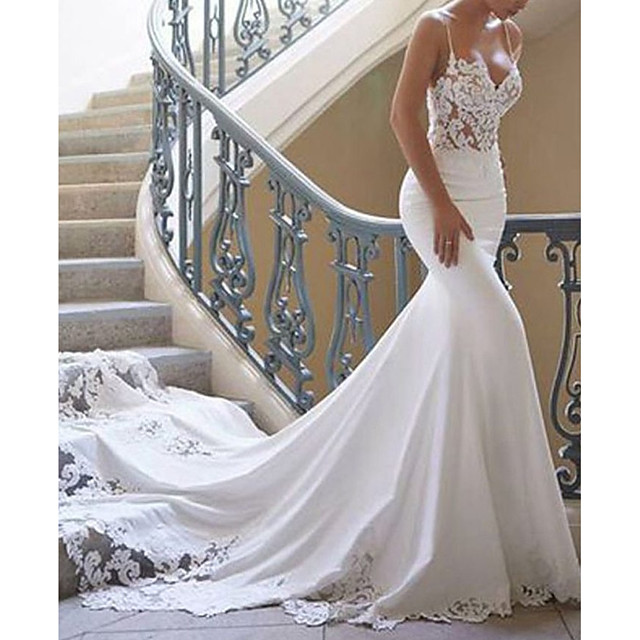 Mermaid / Trumpet Wedding Dresses Sweetheart Neckline Court Train Lace Stretch Satin Spaghetti Strap Sexy with Lace Appliques 2020