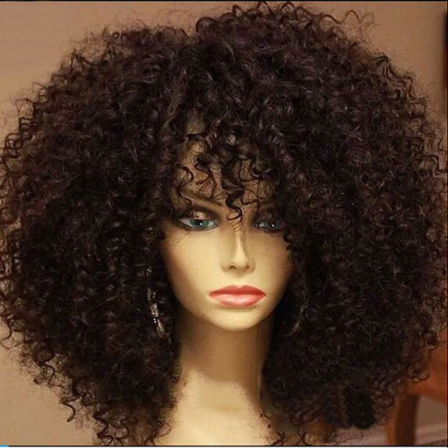 Synthetic Wig Afro Afro Curly with Baby Hair Wig Medium Length Natural Black Chocolate Synthetic Hair 40-45 inch Women's African American Wig Black