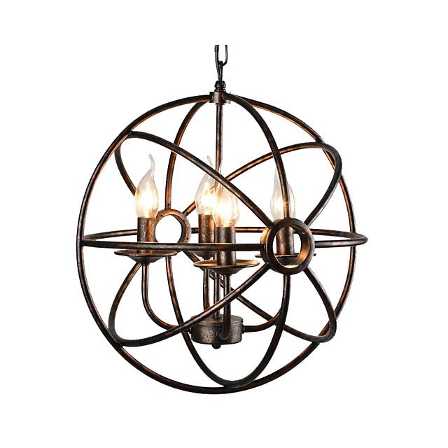 4-Light Spherical Pendant Light Antique Globe Metal Chandelier 4 Lights Oil Rubbed Bronze Ball Pendant Light Ceiling Light Fixture for Bedroom Hallway