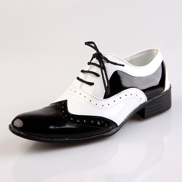 Men's Dress Shoes Satin / Faux Leather Spring & Summer British Oxfords Height-increasing Black / White / Wedding
