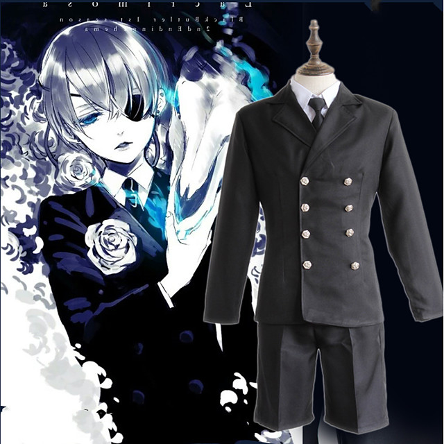 Inspired by Black Butler Ciel Phantomhive Anime Cosplay Costumes Japanese Cosplay Suits Solid Color Top Cloak Shorts For Men's Women's / Hat / Corsage / Hat / Corsage