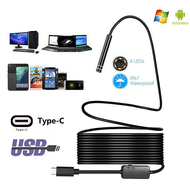 HD industrial endoscope TYPE C Android endoscope waterproof mobile phone endoscope air conditioning pipe hard line 3 m