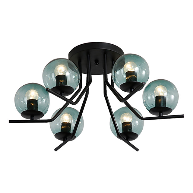 6-Light Sputnik Flush Mount Lights Ambient Light Painted Finishes Metal Ceiling Lamp 6 Lights Chandelier Globe Glass Shade Simple Pendant Lighting Black