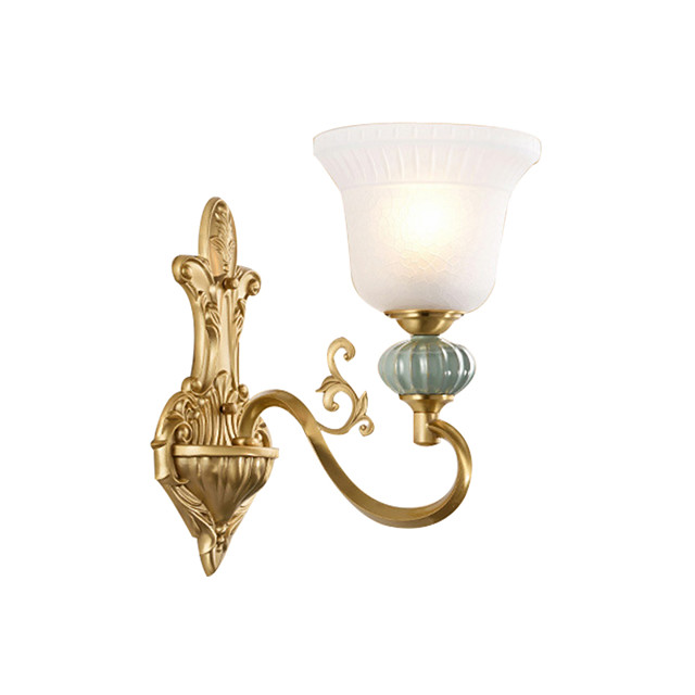 Glass Wall Lamp Round Shade Antique Brass Wall Sconces with Exquisite Carve Bedroom Living Room Night Light Wall Mount