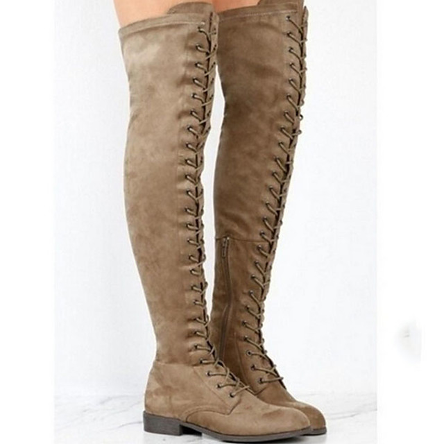 Women's Boots Over-The-Knee Boots Flat Heel Round Toe Suede Over The Knee Boots Winter Black / Brown / Army Green