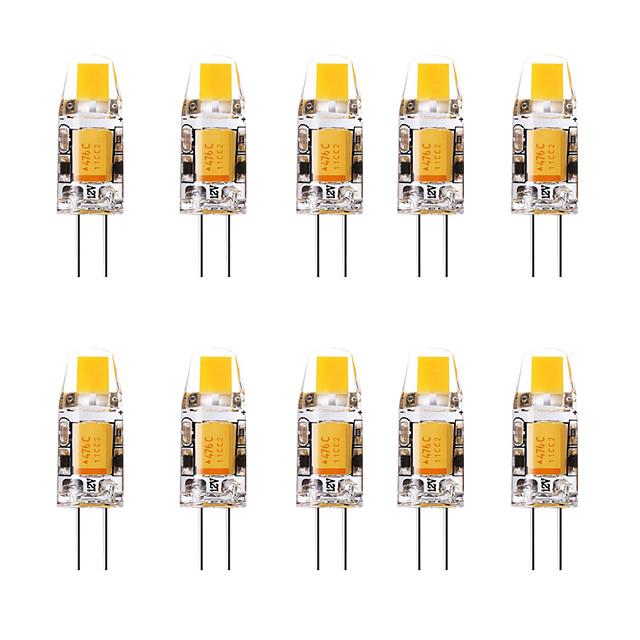 10pcs 1.5 W LED-lamper med G-sokkel 3000 lm G4 1 LED perler Varm hvit Hvit 12 V