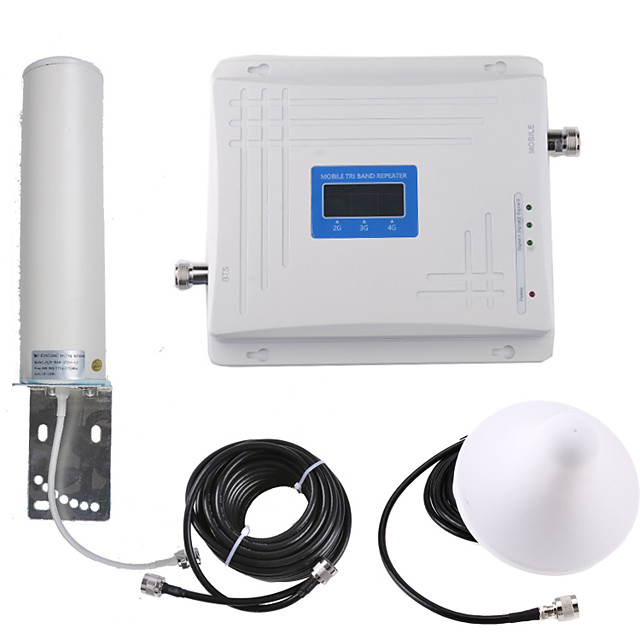 GSM DCS WCDMA Mobile Signal Repeater Network Wifi Extender 900/1800/2100 Dual Band 2G 3G 4G Omni Antenna Outdoor Indoor for Mobile Cell Phone