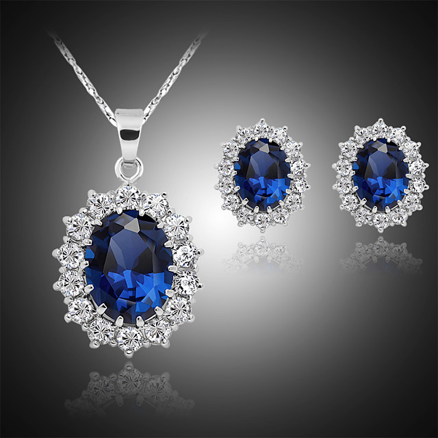 Women's Stud Earrings Pendant Necklace Classic Stylish Classic Silver Plated Earrings Jewelry Blue For Daily Work 1 set