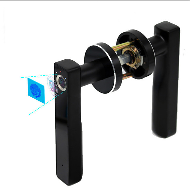 WAFU Wireless Security Electronic Smart Invisible Fingerprint Lock Indoor Fingerprint Door Lock Door Handle Lock for Office Home Hotel Wooden Door Lock(WF-015)
