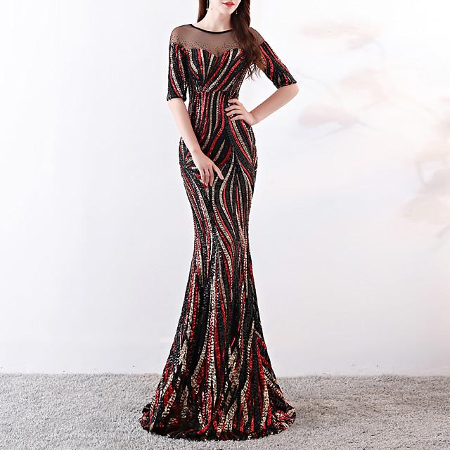 Mermaid / Trumpet Elegant & Luxurious Sexy Formal Evening Dress Jewel Neck Half Sleeve Sweep / Brush Train Sequined with Sequin 2020