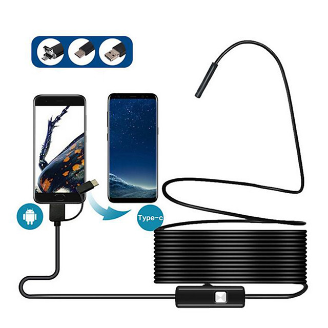 8MM 3in1 TYPE-C USB Android mobile phone endoscope hard line 5 meters 2 million mobile phone endoscopy equipment