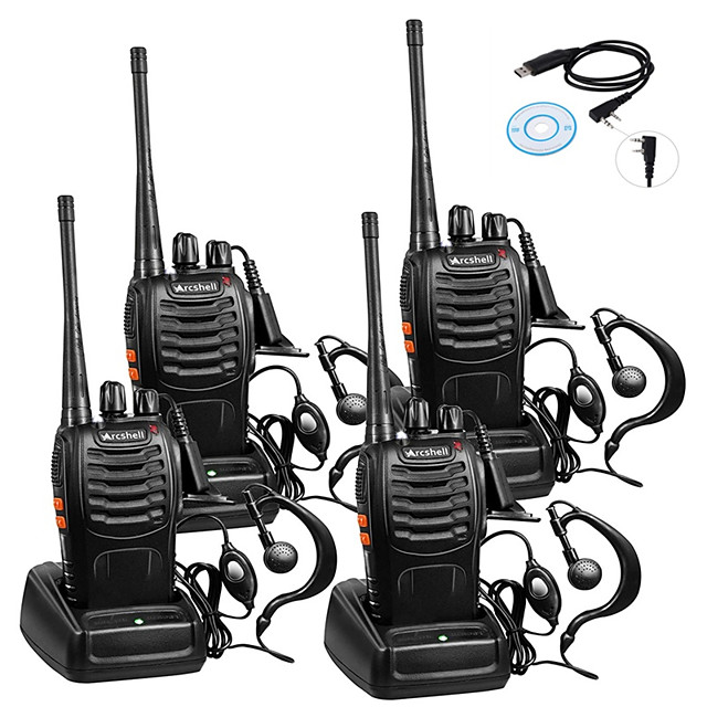 4pcs Baofeng BF-888S Rechargeable Long Range 5W 2800 Amh Two Way Radio Walkie Talkies 16 Channel Handheld Radio Built in LED Torch Microphone With Earpiece(Pack of 4) 4 Pack 1of USB Programming Cable