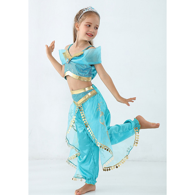 Princess Jasmine Costume Girls' Fairytale Theme Performance Cosplay Costumes Theme Party Sequins Polyester