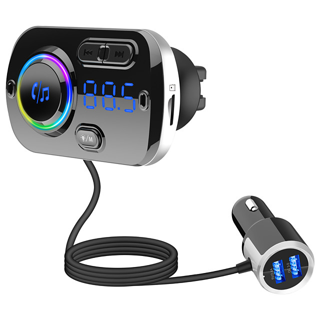 BC49BQ FM Transmitter for Car Bluetooth 5.0 Wireless Car Radio Adapter with QC3.0 & 5V/2.4A Dual Charging Port Easy Attached to Air Vent Better Hands Free Car Kit Music Player