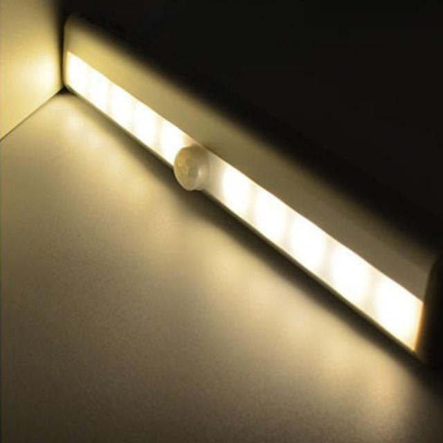 2pcs LED Infrared Human Body Sensor LED Under Cabinet Lighting White Warm White AAA Batteries Powered Night Light Cabinet Corridor Lamp 190mmx30mmx16mm
