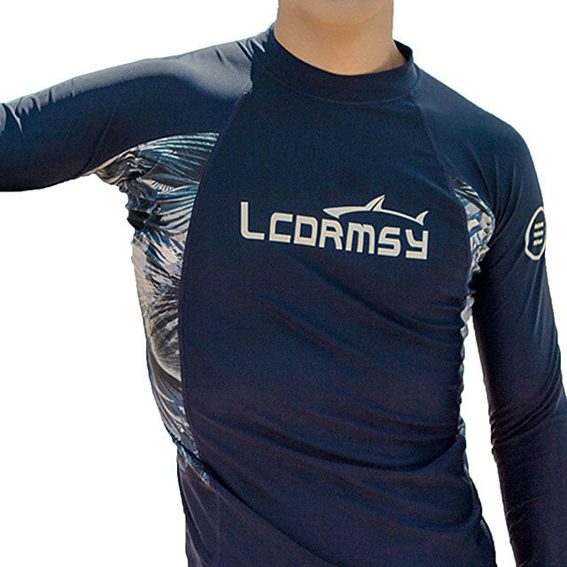 LCDRMSY Men's Rash Guard Sun Shirt Swim Shirt UV Sun Protection Quick Dry Long Sleeve Swimming Water Sports Patchwork Summer / High Elasticity