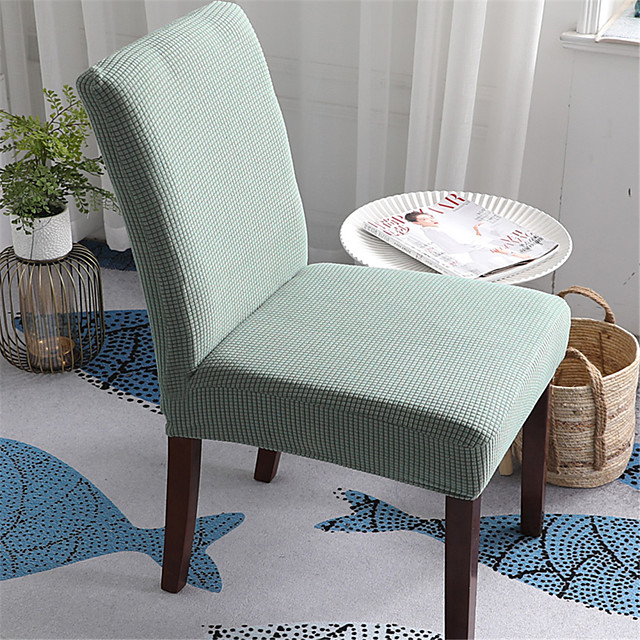 Solid Thicken Plush Chair Cover Stretch Removable Washable Dining Room Chair Protector Slipcovers Home Decor Dining Room Seat Cover