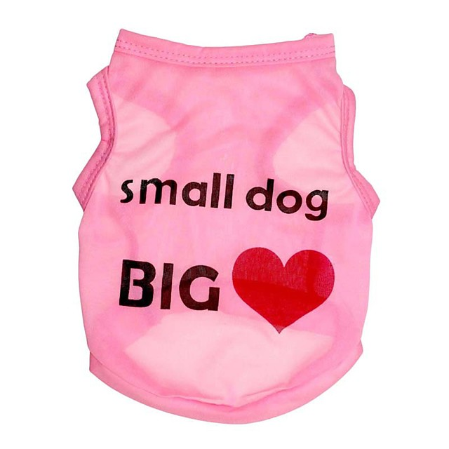 Dog Vest Heart Quotes & Sayings Sweet Style Simple Style Dog Clothes Black Fuchsia Blue Costume Polyester XS S M L