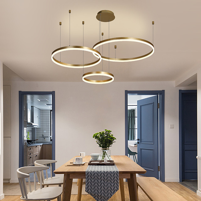 1-Light LED 60W Circle Chandelier/ LED Modern Pendant Lights For Living Room Coffee Bar Shop Room/ Small Size/ Warm White / White / Dimmable With Remote Control / WIFI Smart via Voice Control