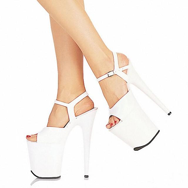 Women's Heels Stiletto Heel Peep Toe PU British Spring & Summer Black / White / Red / Wedding / Party & Evening