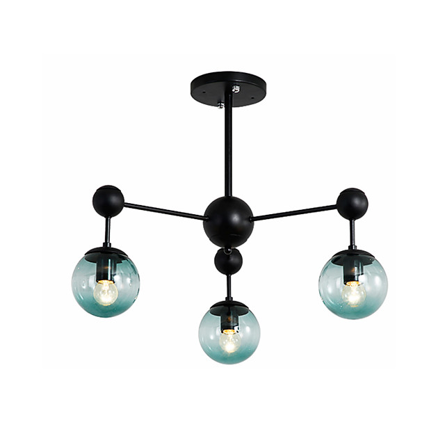 3-Light Sputnik Semi Flush Mount Lights Ambient Light Painted Finishes Metal Ceiling Lamp 3 Lights Chandelier Globe Glass Shade Simple Pendant Lighting Black