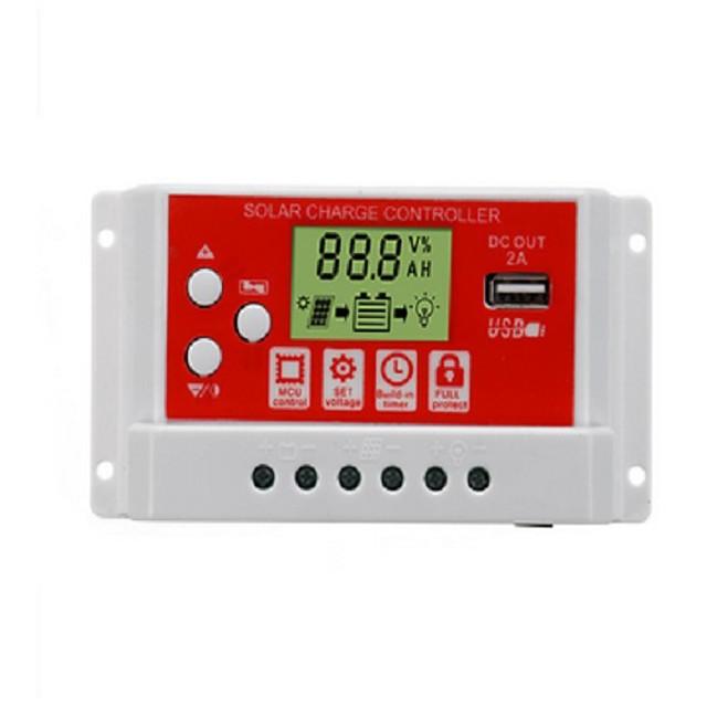 30A 12V/24V Solar Panel Battery Regulator Charging Controller 3-Stage PWM LCD