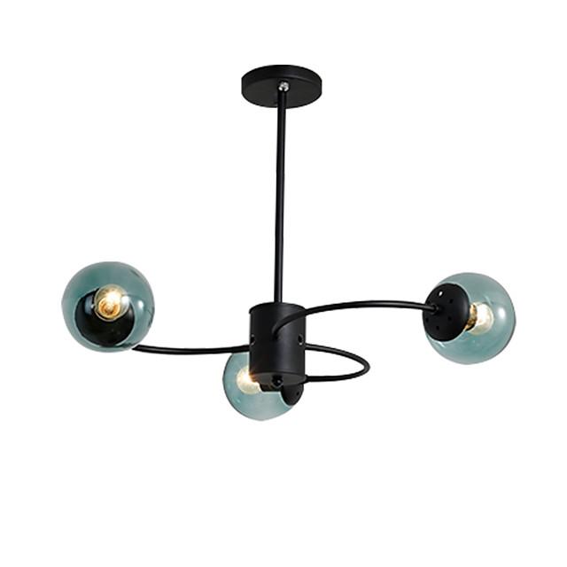 3-Light Sputnik Semi Flush Mount Lights Ambient Light Painted Finishes Metal Ceiling Lamp 3 Lights Chandelier Globe Glass Shade Simple Pendant Lighting Black