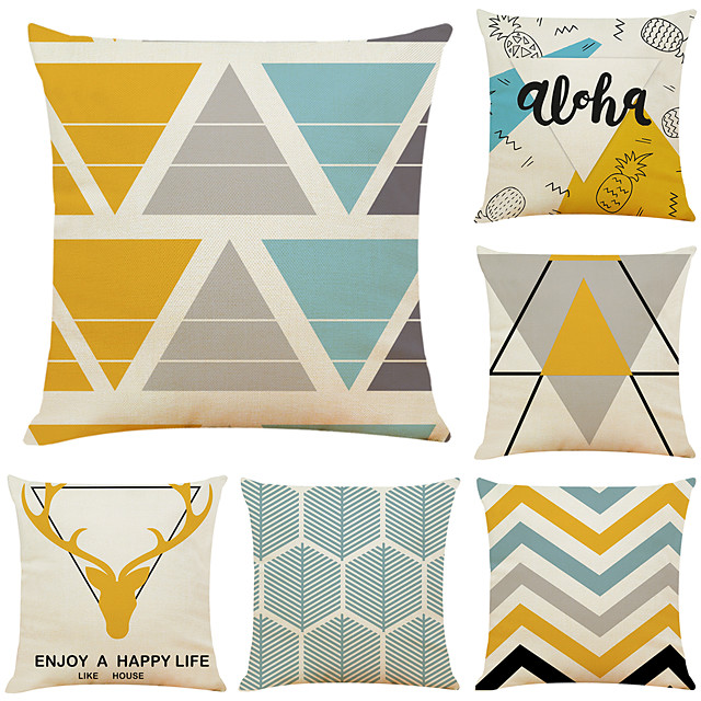 Set of 6 Geometric Antler Linen Square Decorative Throw Pillow Cases Sofa Cushion Covers 18x18