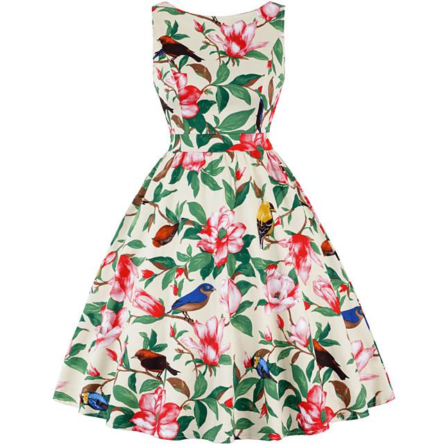 Vintage Inspired Dress Women's Spandex Costume Wine / Sky Blue / Purple Vintage Cosplay Knee Length