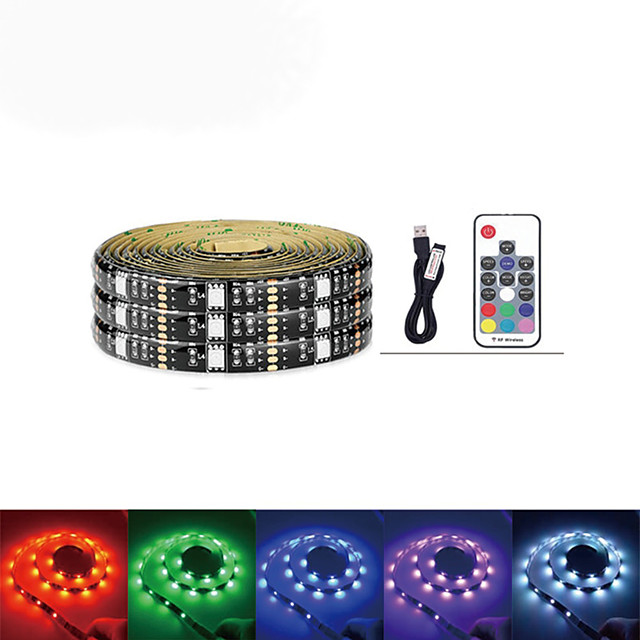 2M LED Light Strips RGB Tiktok Lights DC 5V USB SMD 5050 60LEDs LED Light Flexible 17Key Remote For TV Background Lighting