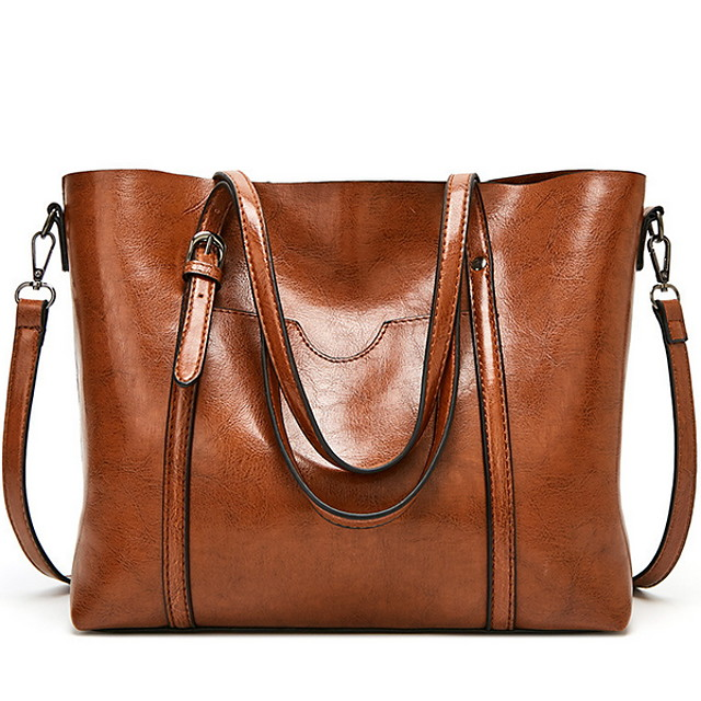 Women's Bags PU Leather Shoulder Strap Tote Top Handle Bag Zipper Solid Color Tote Daily Wine Black Blue Blushing Pink