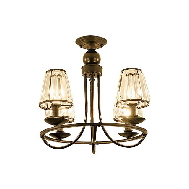 4-Light American Rustic Crystal Chandeliers Black Indoor Deco Light Pendant Lamp 4 Lights Bedroom Living Room Hallway Ceiling Light Semi Flush Circle Shape