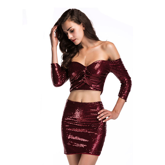 Diva Disco 1980s Dress Women's Sequins Costume Burgundy / Pink Vintage Cosplay Prom 3/4 Length Sleeve Above Knee Sheath / Column