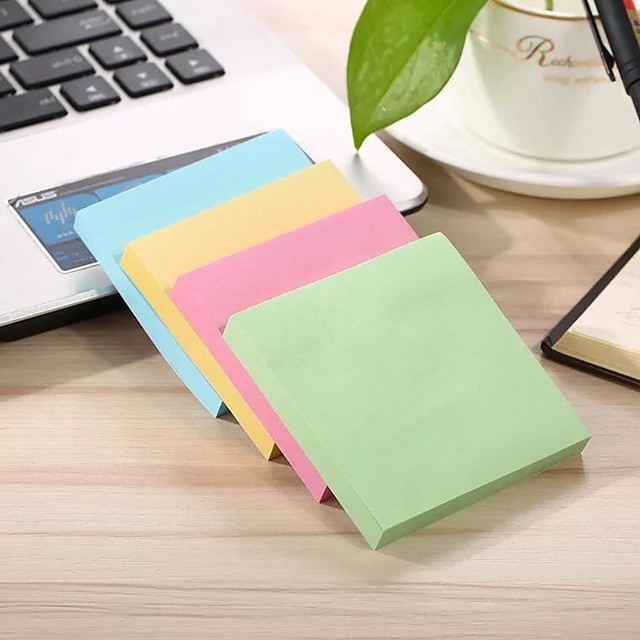 2packs 100 Sheets/Pack Universal Sticky Adhesive Notes Candy Color Square 7.5*7.5cm Sticky Notes Post-it Note Blue Green Pink