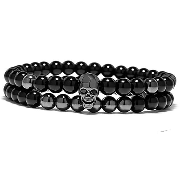 2pcs Men's Women's Gold Black Bead Bracelet Beads Skull Punk Trendy Casual / Sporty Rock Fashion Stone Bracelet Jewelry Black / Gold For Gift Daily Carnival Street Work / Imitation Diamond