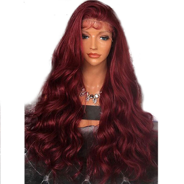 Synthetic Lace Front Wig Wavy Side Part with Baby Hair Lace Front Wig Long Dark Wine Synthetic Hair 20-26 inch Women's Adjustable Heat Resistant Party Burgundy