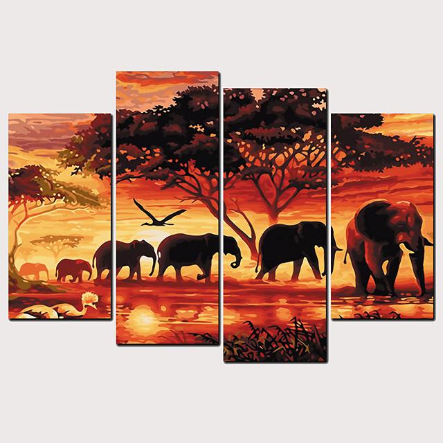 Print Rolled Canvas Prints - Animals Classic Modern Four Panels Art Prints
