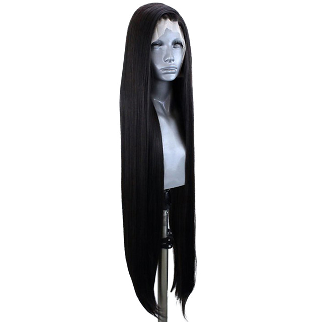 Synthetic Lace Front Wig Straight Side Part Lace Front Wig Very Long Natural Black #1B Synthetic Hair 20-30 inch Women's Adjustable Heat Resistant Party Black