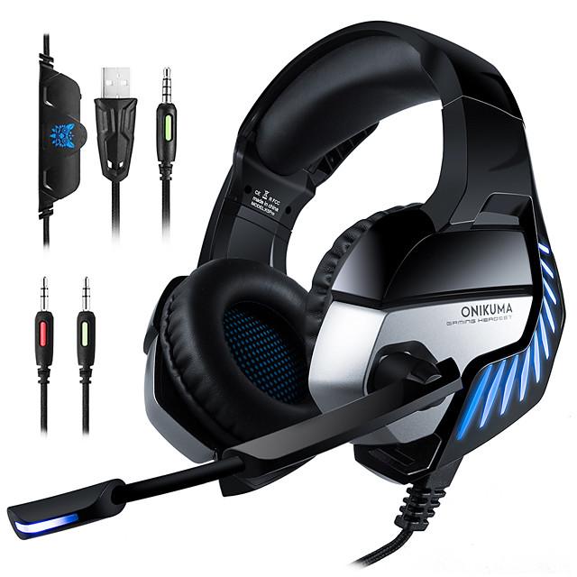 ONIKUMA K5 Pro Stereo Gaming Headset - Noise Canceling MIC LED Light USB / 3.5mm For Xbox PS4 PC Etc Over-Ear Headphones