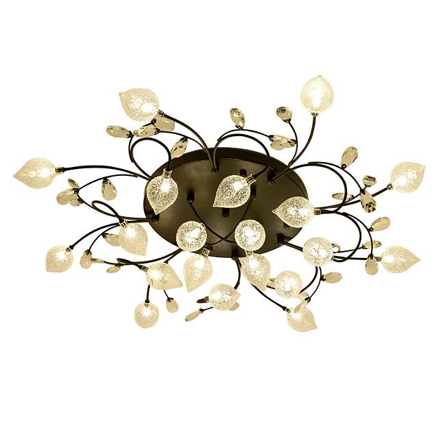 20 Bulbs ZHISHU 90 cm Crystal Creative Flush Mount Lights Metal Glass Cluster Empire Bowl Electroplated Artistic Chic & Modern 110-120V 220-240V G4