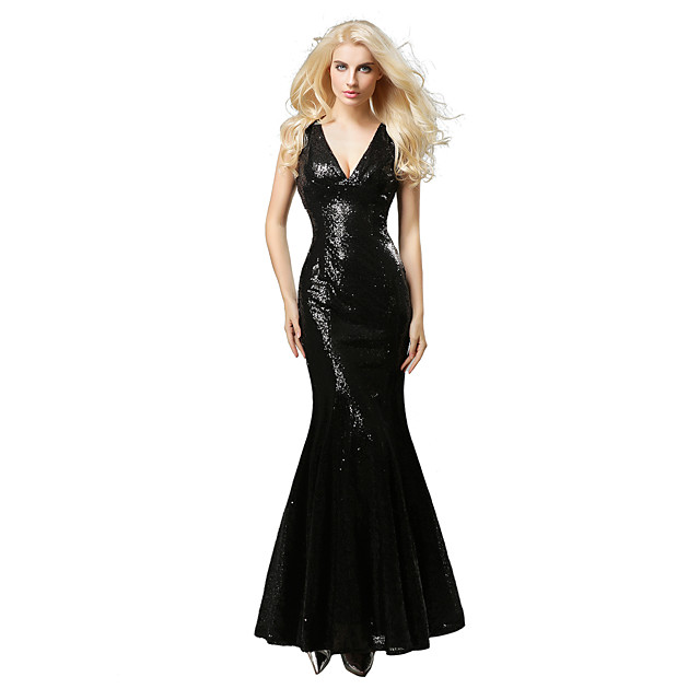 Mermaid / Trumpet Elegant Formal Evening Dress Plunging Neck Sleeveless Floor Length Sequined with Sequin 2020