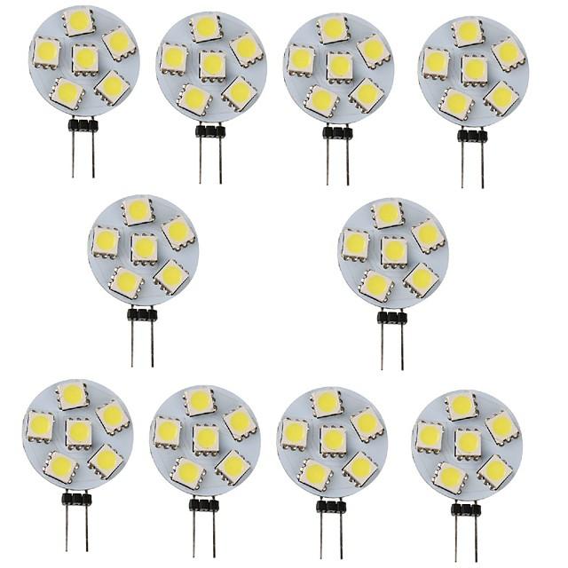 10pcs 1 W LED Bi-pin Lights 120 lm G4 6 LED Beads SMD 5050 White Warm Yellow 12 V
