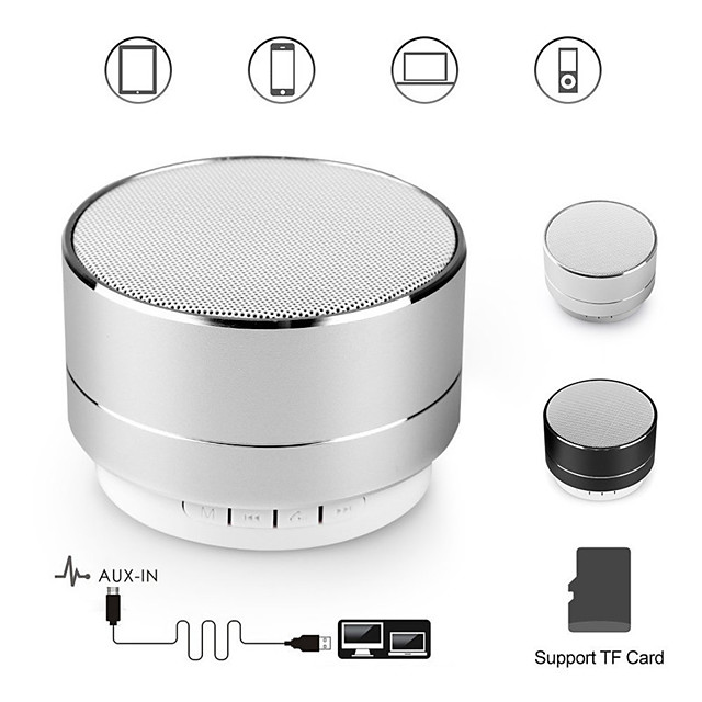 A10 bluetooth speaker metal mini portable speakers subwoof sound with microphone handsfree support TF card FM radio AUX