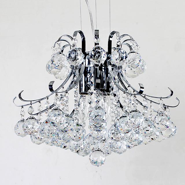 3-Light Pendant Light Ambient Light Electroplated Metal New Design Crystal Chandeliers Chrome Finished Pendant Light Fixtures Flush Mount Bedroom Ceiling Light Fixtures