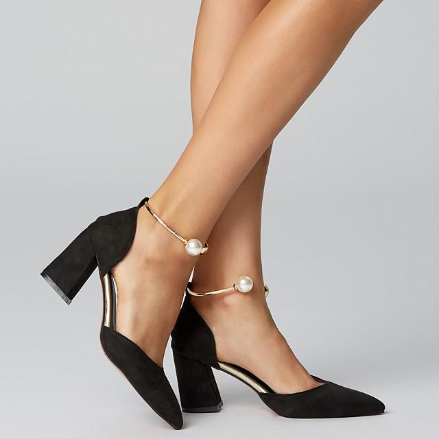 Women's Heels Glitter Crystal Sequined Jeweled Pearl Leather / PU Basic Pump Summer Burgundy / Pink / Black / EU39