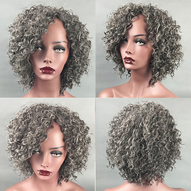 Synthetic Wig Afro Curly Kinky Curly Short Bob Side Part Wig Short Grey Synthetic Hair 14 inch Women's Adjustable Heat Resistant Classic Silver Dark Gray