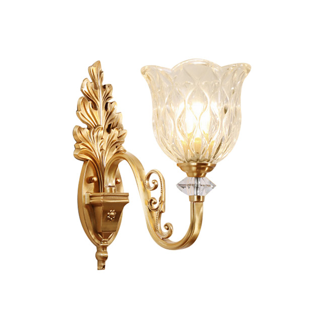 Glass Wall Lamp Round Shade Antique Brass Wall Sconces with Exquisite Carve Bedroom Living Room Night Light Wall Mount Transparent Shade