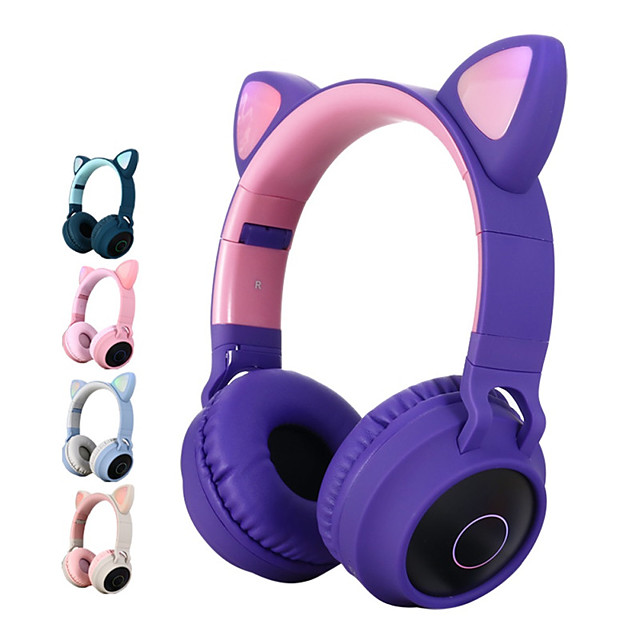 LITBest Color LED Cat Ear Headphones Bluetooth 5.0 Headset Support TF Card 3.5mm Audio Input FM Function with Mic MP3 Music Player Over Ear Foldable Party Street Fashion