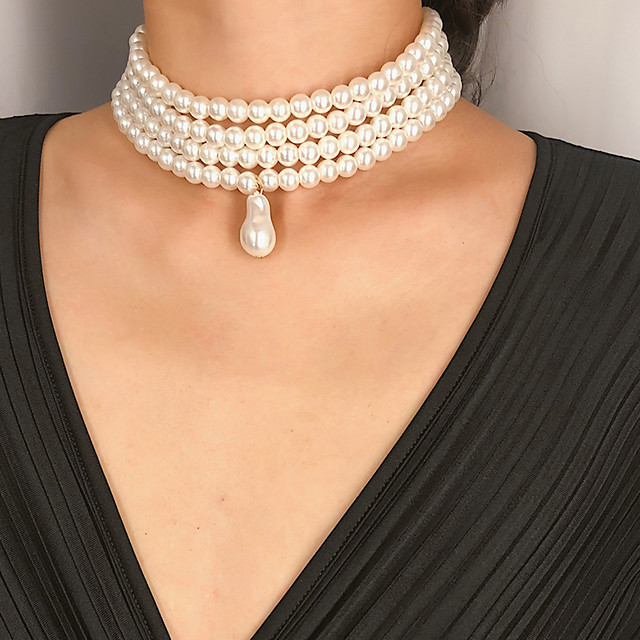 Women's Pearl Pendant Necklace Necklace Elegant Trendy Fashion Bridal Imitation Pearl White Oval Pearl 32 cm Necklace Jewelry 1pc For Wedding Gift Daily Holiday Festival / Layered Necklace