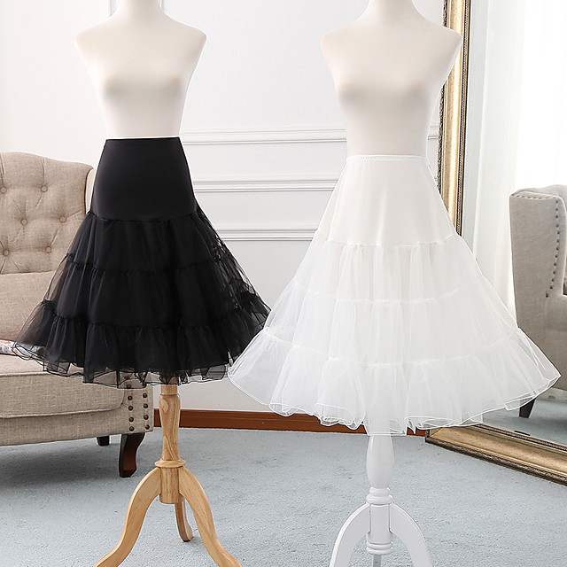 Ballet Classic Lolita 1950s Dress Petticoat Hoop Skirt Tutu Crinoline Women's Girls' Tulle Costume Black / Grey / White Vintage Cosplay Party Performance Princess
